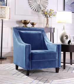 Iconic Home Camren Camero Kam Kameron Keros Accent Chair Velvet Upholstered Nailhead Trim Tapered Espresso Wood Legs Navy Main Image