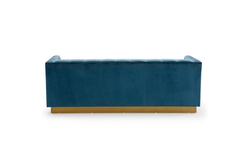 Iconic Home Primavera Sofa Button Tufted Velvet Upholstered Gold Tone Metal Base Teal