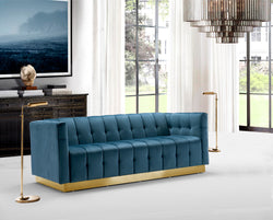 Iconic Home Primavera Navin Vesna Aviv Willow Sofa Button Tufted Velvet Upholstered Gold Tone Metal Base Teal Main Image