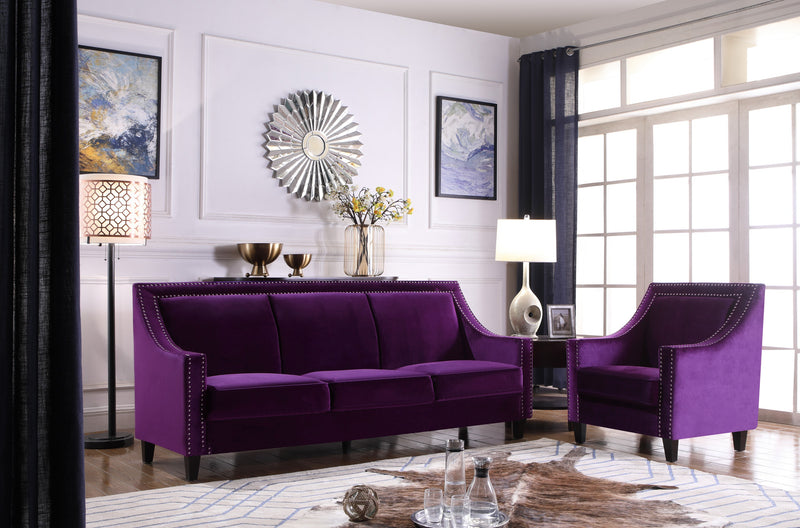 Iconic Home Camren Accent Chair Velvet Upholstered Nailhead Trim Tapered Espresso Wood Legs Purple