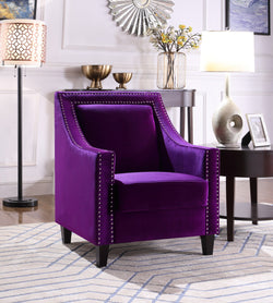 Iconic Home Camren Camero Kam Kameron Keros Accent Chair Velvet Upholstered Nailhead Trim Tapered Espresso Wood Legs Purple Main Image