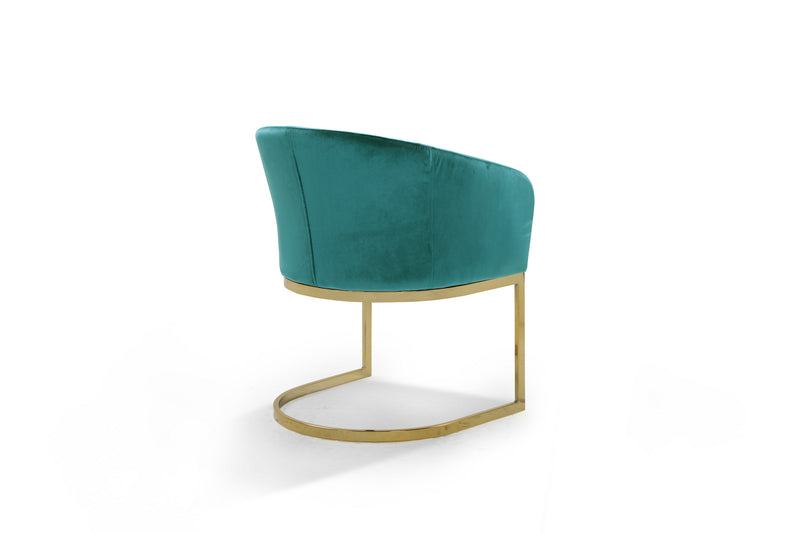 Iconic Home Siena Shell Accent Chair Velvet Upholstered U-Shaped Gold Plated Solid Metal Base Teal