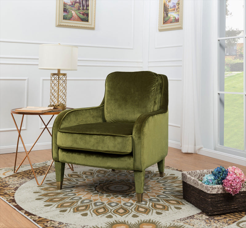 Iconic Home Tzivia Ayala Gila Milka Nurit Accent Club Chair Sleek Velvet Upholstered Plush Cushion Brass Tip Legs Green Main Image