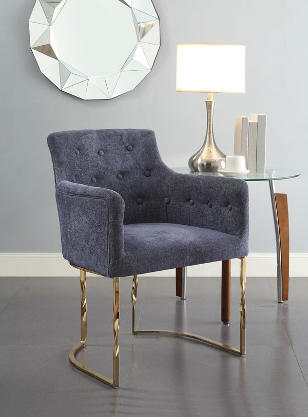 Iconic Home Amalfi Cilento Atrani Minori Positano Accent Chair Button Tufted Linen Upholstered Gold Tone Solid Metal Frame Blue Main Image