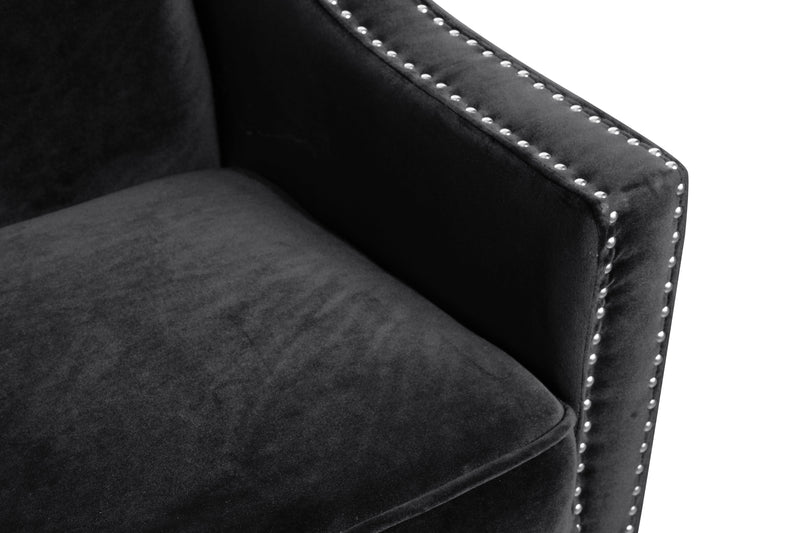 Iconic Home Camren Sofa Velvet Upholstered Swood Arm Nailhead Trim Tapered Espresso Wood Legs Black