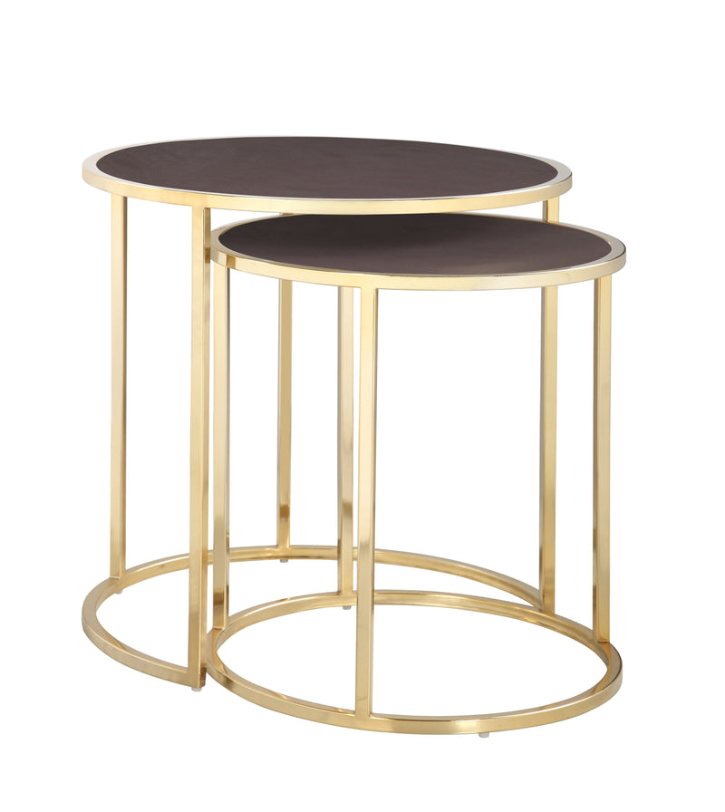 Iconic Home Tuscany Nesting Table 2 Piece PU Leather Top Gibbous Moon Gold Solid Metal Frame Brown