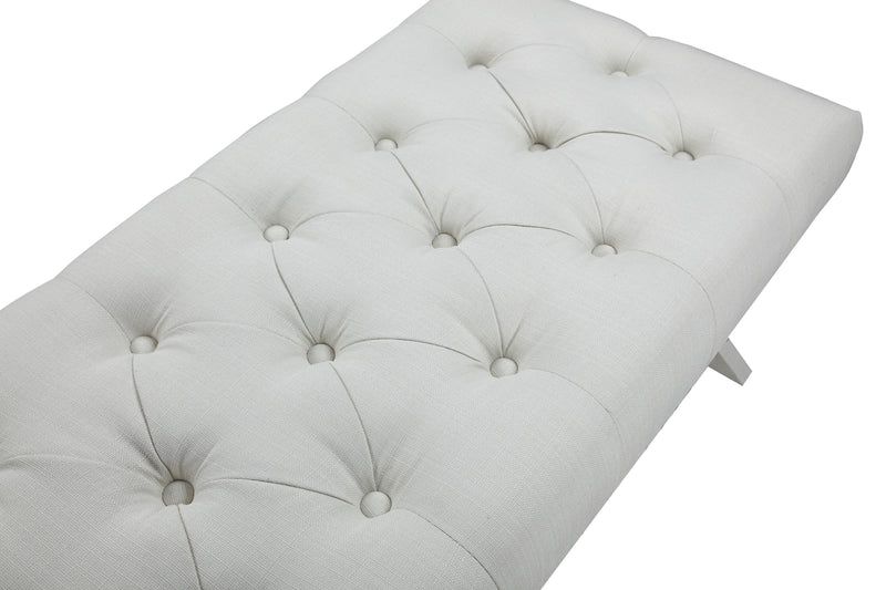 Iconic Home Dalit X Frame Nailhead Trim Linen Tufted Ottoman Bench Beige