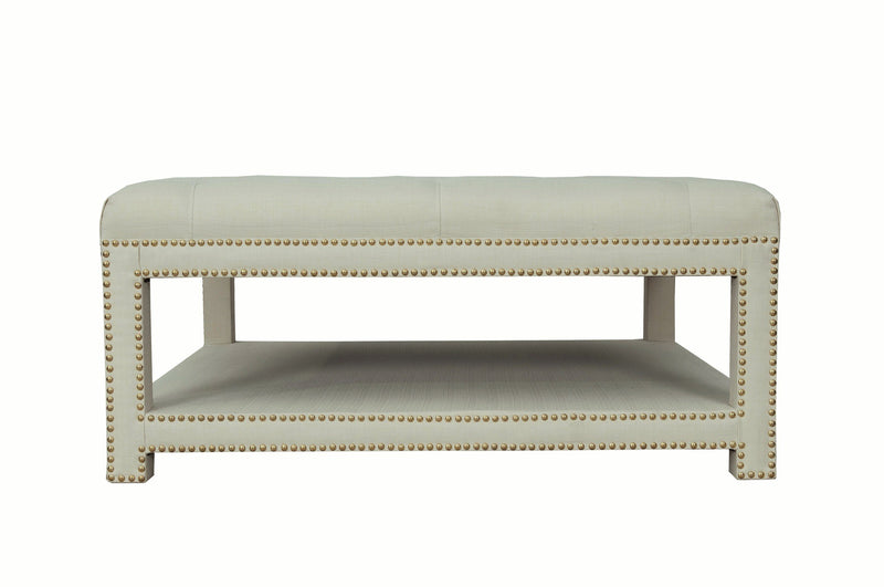 Iconic Home Bina Coffee Table Ottoman Tufted Linen Upholstered Nailhead Trim 2 Layer Bench Beige