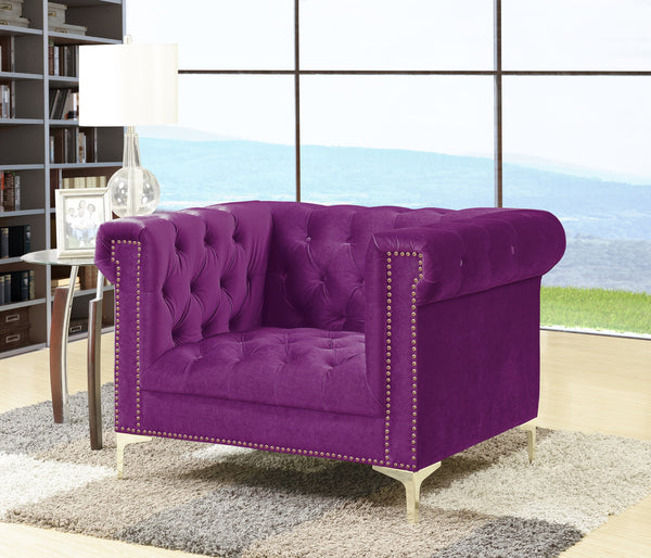Iconic Home Bea Carlos Soumaya Vanessa Johanna Velvet Button Tufted Accent Club Chair Purple Main Image