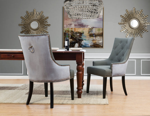 Iconic Home Cadence Linus Gideon Gilbert Renaud Button Tufted PU Leather Velvet Nailhead Trim Espresso Wood Legs Dining Side Chair (Set of 2) Grey Main Image