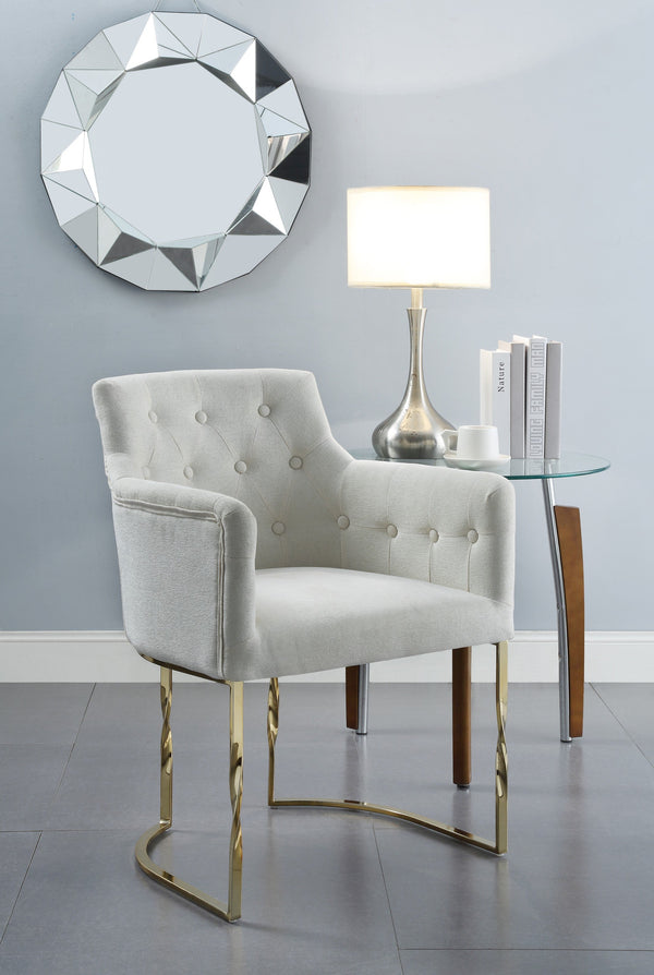 Iconic Home Amalfi Cilento Atrani Minori Positano Accent Chair Button Tufted Linen Upholstered Gold Tone Solid Metal Frame Beige Main Image