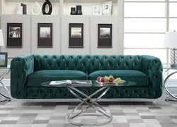 Iconic Home Syracus Castor Phobos Apollo Morgan Tufted Velvet Plush Club Sofa Green Main Image