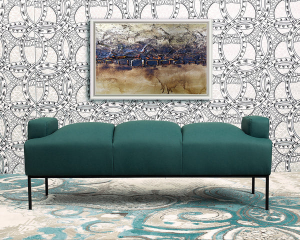 Iconic Home Carmel Tiya Perla Celicia Samara Bench Pebble Grain PU Leather Upholstered Metal Frame Ottoman Blue Main Image