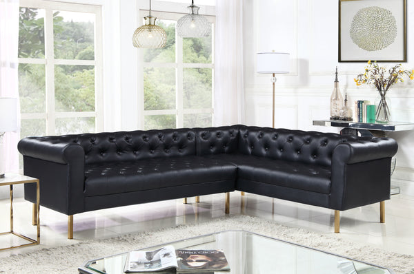 Iconic Home Giovanni Dominic Mateo Julian Noah Right Facing Sectional Sofa L Shape PU Leather Upholstered Gold Tone Legs Black Main Image