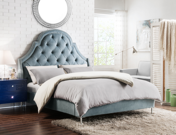 Iconic Home Napoleon Alexander Arthur Constantine Nero Bed Frame with Wingback Headboard Button Tufted Velvet Upholstered Slate Main Image