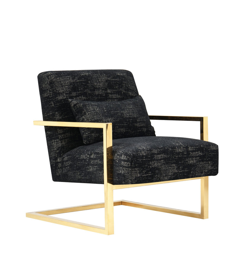 Iconic Home Louvre Accent Chair Two-Tone Textured Fabric C-Shaped Gold Tone Solid Metal Frame Black