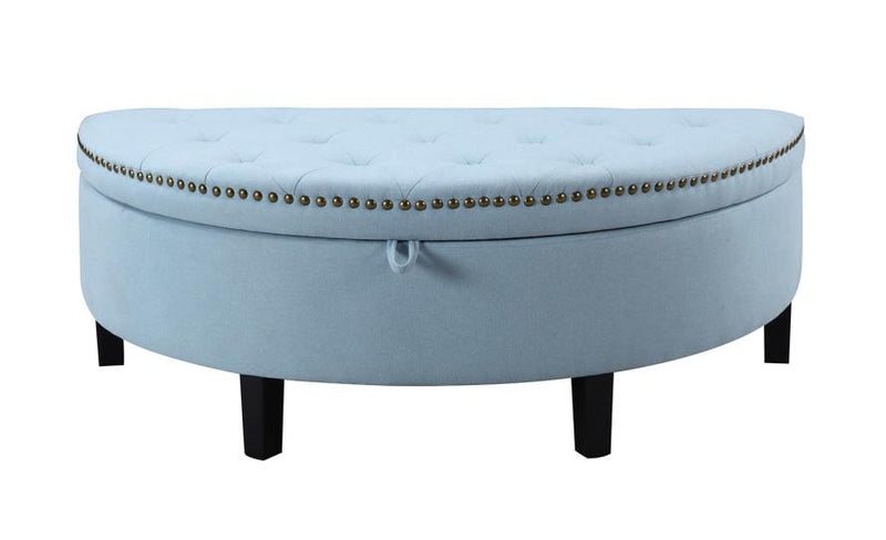 Iconic Home Jacqueline Storage Ottoman Button Tufted Linen Upholstered Espresso Legs Bench Blue