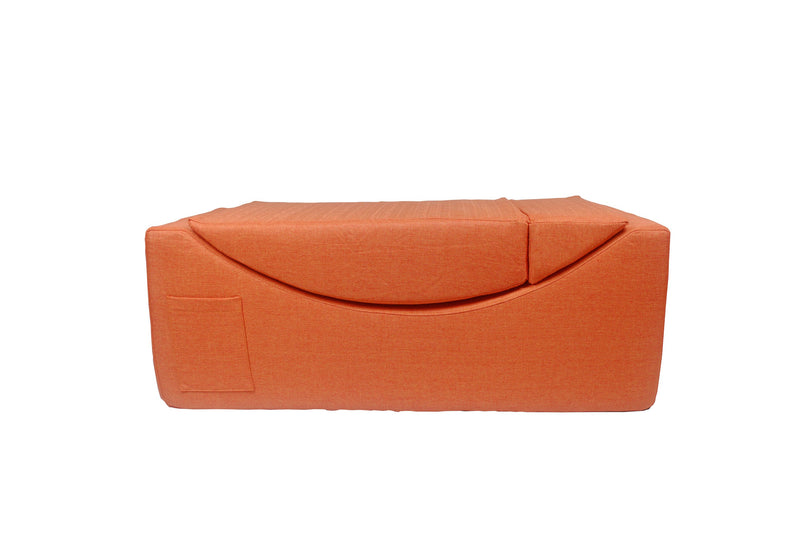 Iconic Home Enzyme Faux Linen Recliner Accent Chair Ottoman Bench Orange