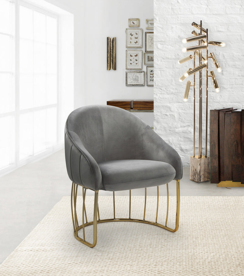 Iconic Home Teatro St. George Hammerstein Vivienne Rouge Shell Accent Chair Velvet Upholstered Half Moon Gold Tone Solid Metal Base Grey Main Image