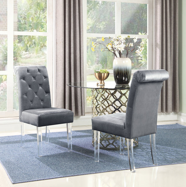 Iconic Home Sharon Sharyn Helga Tate Metzger Dining Side Chair Button Tufted Velvet Upholstered Acrylic Legs Grey (Set of 2) Main Image