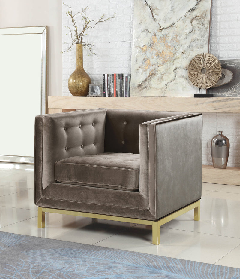 Iconic Home Dafna Anina Vigan Evie Tamara Club Chair Tufted Velvet Brass Finished Stainless Steel Brushed Metal Frame Taupe Main Image
