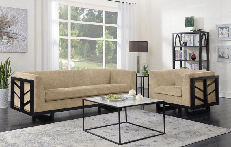 Iconic Home Arianna Linen Textured Espresso Frame Sofa Gold