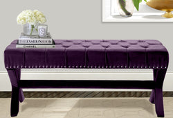 Iconic Home Neil Buzz Shepard Bentley Regan X Frame Nailhead Trim Velvet Tufted Ottoman Bench Plum Main Image