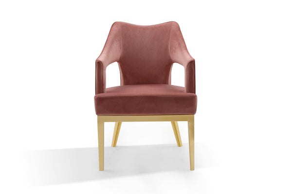 Iconic Home Gourdon Accent Chair Plush Velvet Upholstered Swoop Arm Gold Tone Solid Metal Legs Brick