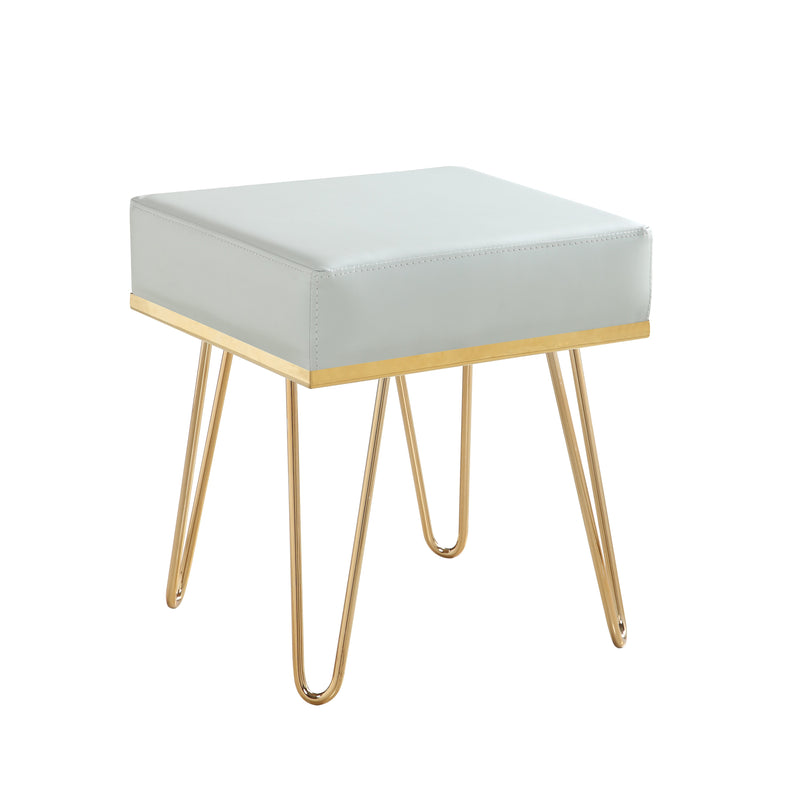 Iconic Home Catania Square Ottoman PU Leather Brass Finished Solid Metal Frame Hairpin Legs Grey