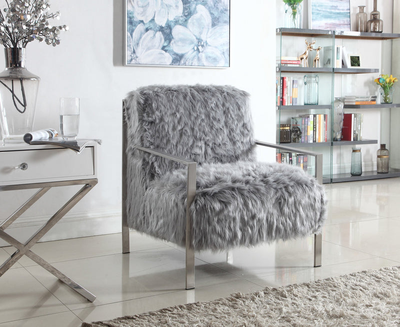 Iconic Home Bayla Gala Masha Raisa Katrina Accent Club Chair Faux Fur Upholstered Nickel Finished Stainless Steel Frame Grey Main Image