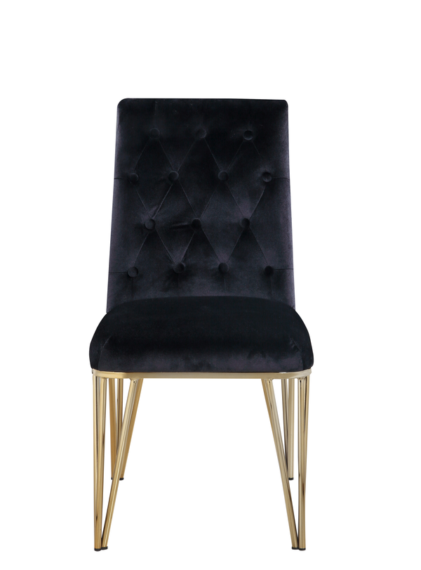 Iconic Home Callahan Dining Chair Velvet Upholstered Solid Gold Tone Spindle Legs Black (Set of 2)