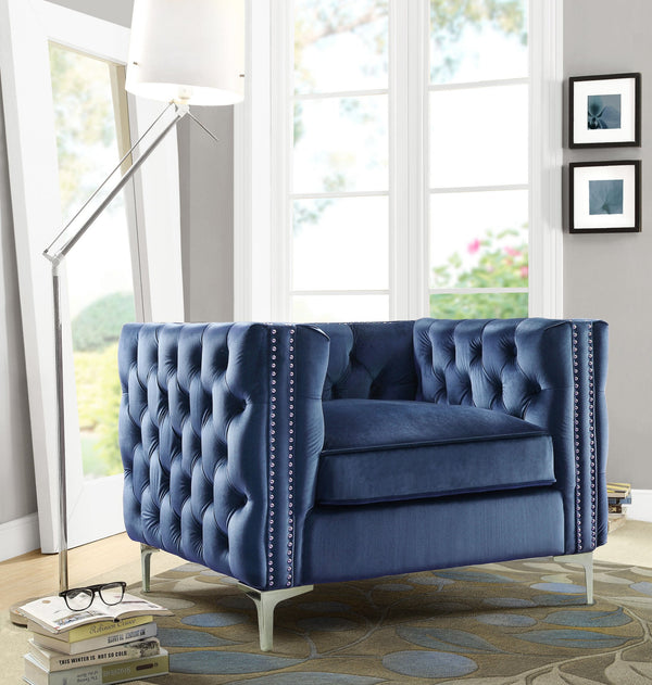 Iconic Home Da Vinci Michelangelo Picasso Monet Bosch Button Tufted Velvet Upholstered Nail Head Trim Accent Club Chair Navy Main Image