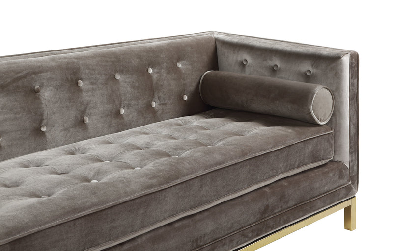 Iconic Home Dafna Club Sofa Tufted Velvet Brass Finished Stainless Steel Brushed Metal Frame Taupe