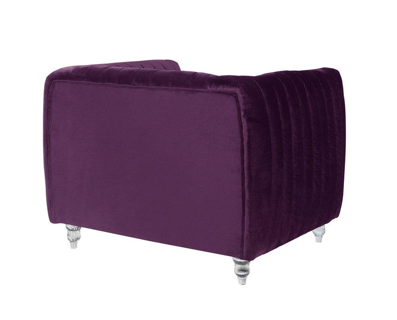 Iconic Home Kent Channel Quilted Velvet Accent Club Chair Purple