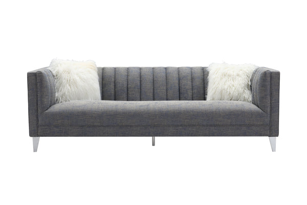 Iconic Home Montmarte Sofa Textured Fabric Channel-Quilted Tapered Silvertone Metal Legs Blue