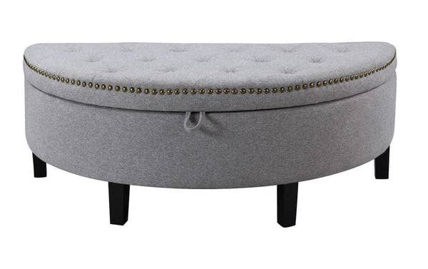Iconic Home Jacqueline Storage Ottoman Button Tufted Linen Upholstered Espresso Legs Bench Grey