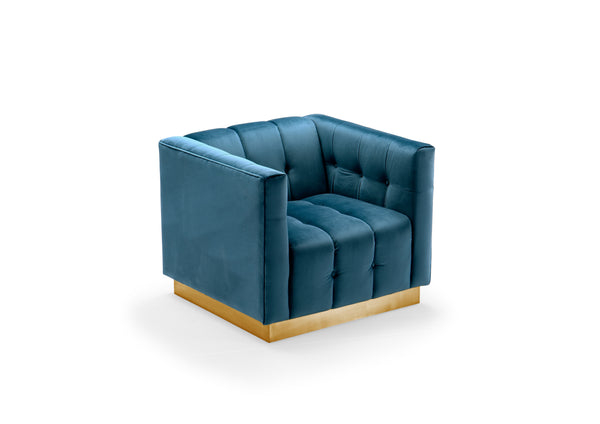 Iconic Home Primavera Club Chair Button Tufted Velvet Upholstered Gold Tone Metal Base Teal