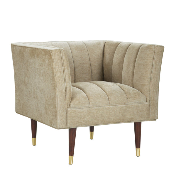 Iconic Home Agatha Clam Shell Linen Textured Accent Club Chair Gold