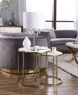 Iconic Home Tuscany Hunter Blayne Olivia Avery Nesting Table 2 Piece PU Leather Top Gibbous Moon Gold Solid Metal Frame Cream Main Image