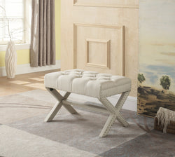 Iconic Home Paige Divina Bettina Gaia Agatha X Frame Nailhead Trim Linen Tufted Ottoman Bench Beige Main Image