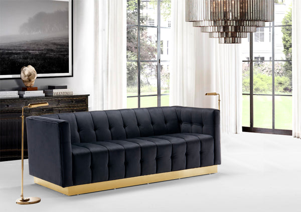 Iconic Home Primavera Navin Vesna Aviv Willow Sofa Button Tufted Velvet Upholstered Gold Tone Metal Base Black Main Image