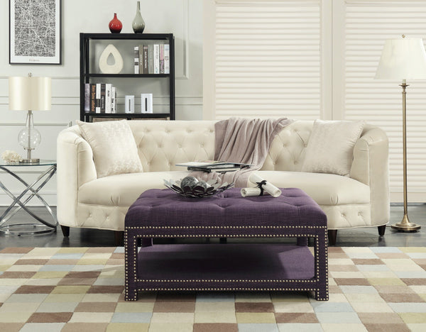 Iconic Home Bina Dara Quinn Micah Tallis Coffee Table Ottoman Linen Upholstered Nailhead Trim 2 Layer Bench Purple Main Image