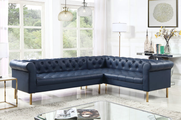 Iconic Home Giovanni Dominic Mateo Julian Noah Right Facing Sectional Sofa L Shape PU Leather Upholstered Gold Tone Legs Navy Main Image