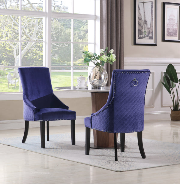 Iconic Home Machla Yeva Vinnitsa Moishe Frida Dining Chair Button Tufted Velvet Upholstered Nailhead Trim Wood Legs Navy Main Image