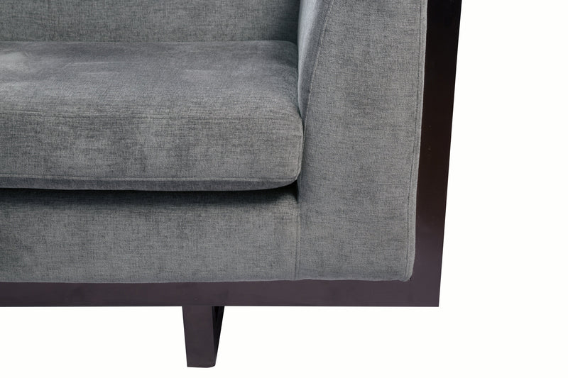 Iconic Home Arianna Linen Textured Accent Club Chair Grey