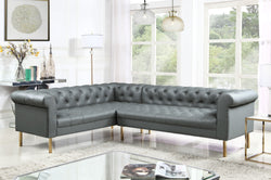 Iconic Home Giovanni Dominic Mateo Julian Noah Left Facing Sectional Sofa L Shape PU Leather Upholstered Gold Tone Legs Grey Main Image