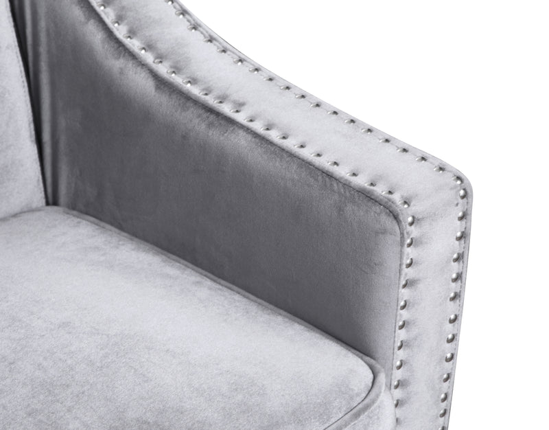Iconic Home Camren Accent Chair Velvet Upholstered Nailhead Trim Tapered Espresso Wood Legs Grey