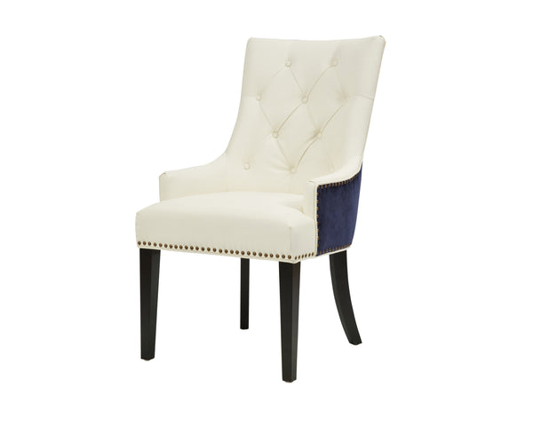 Iconic Home Cadence Tufted PU Leather Velvet Wood Legs Dining Side Chair Navy/White (Set of 2)