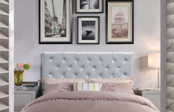 Iconic Home Rivka Ajax Clytia Emer Helena Headboard Velvet Upholstered Diamond Button Tufted Silver Main Image