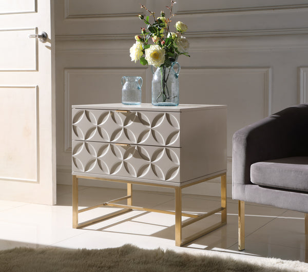 Iconic Home Mantau Nate Lyon Albi Jenica Side Table Nightstand Lacquer Finish Solid Gold Tone Metal Frame Beige Main Image